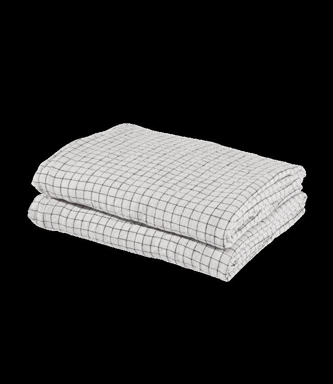 Linge Particulier Duvet cover linen - white black checks
