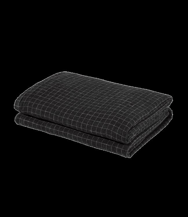 Duvet cover linen - black checks