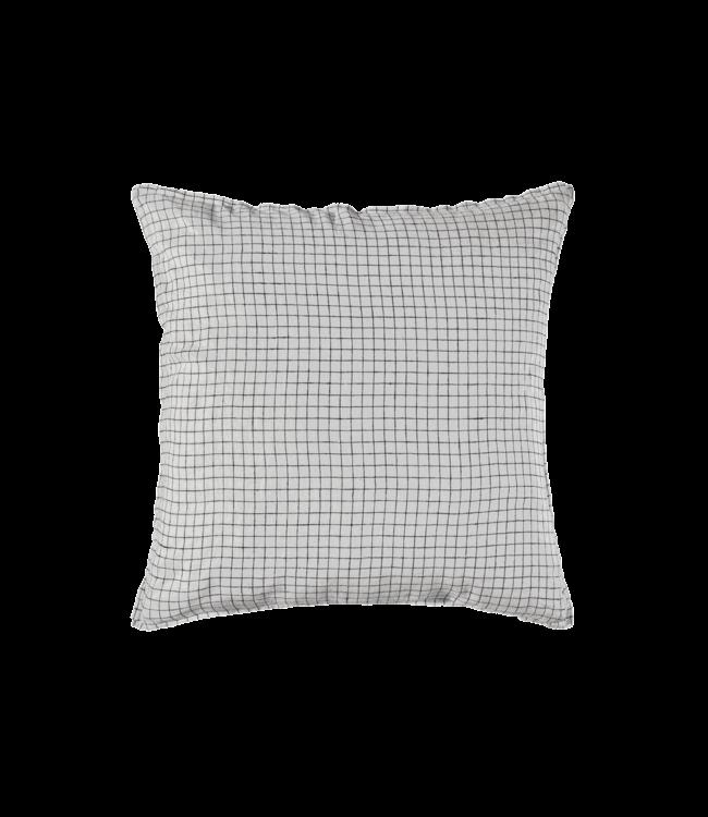 Linge Particulier Kussensloop linnen - white black checks