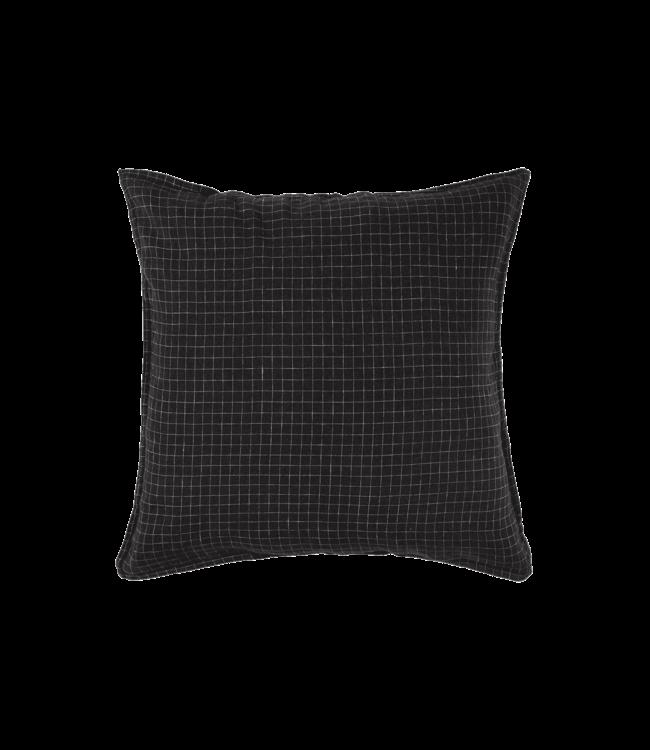 Linge Particulier Kussensloop linnen - black checks