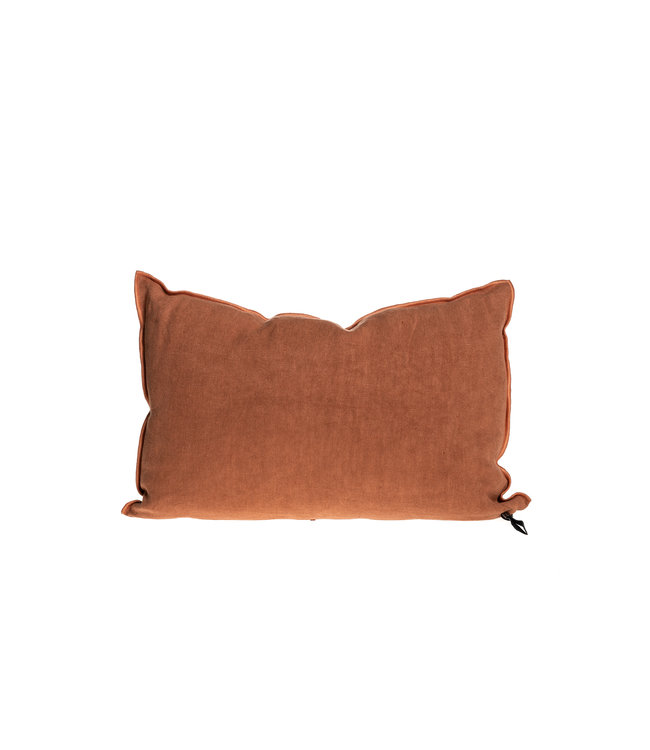 Cushion vice versa black line, stone washed linen - sienne/bourdon sienne