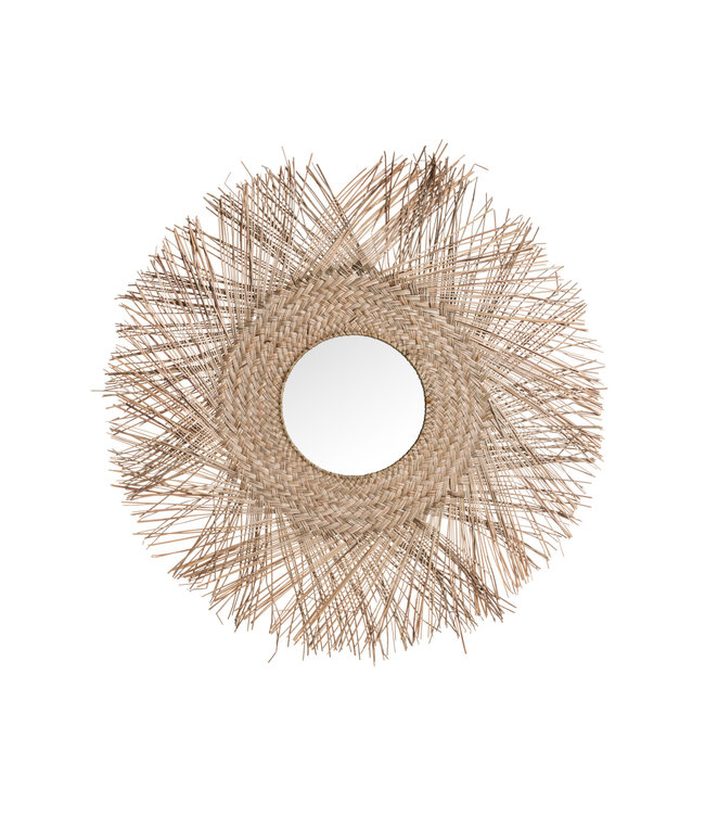 Rotan spiegel met franjes M - natural