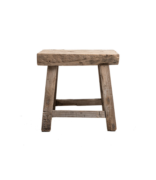 Old stool weathered elm wood #44