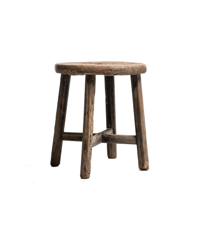 Elm wood antique stool round #14
