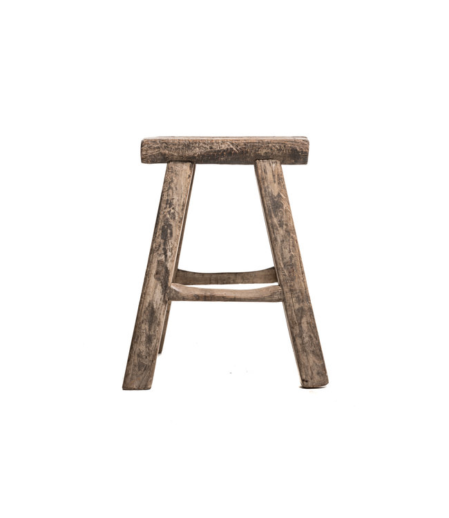 Rectangular stool elm, weathered thick top