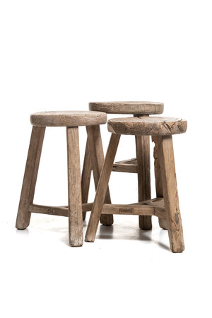 Round stool elm, weathered thick top