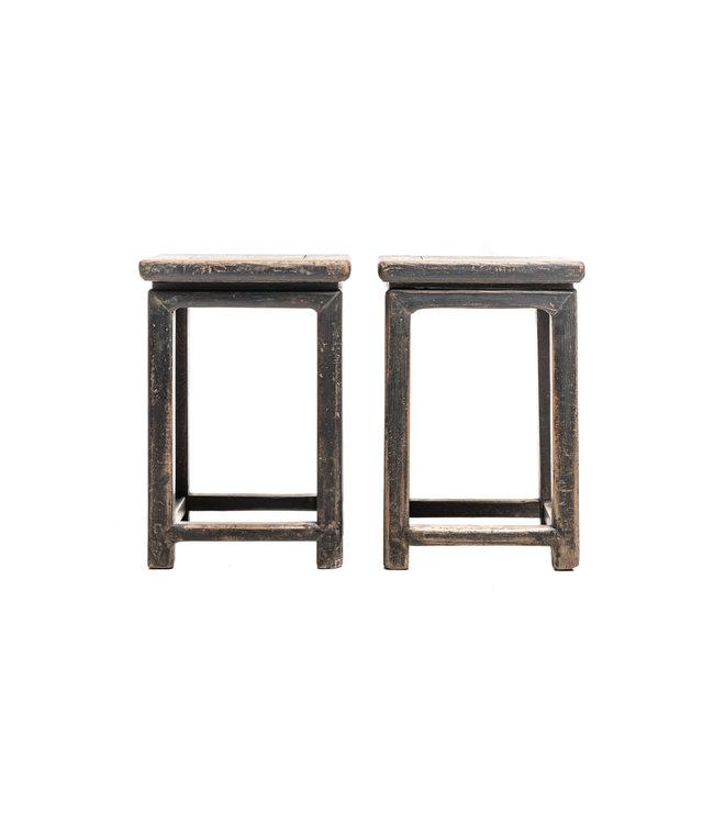 Set of 2 bedside tables, patinated elm wood