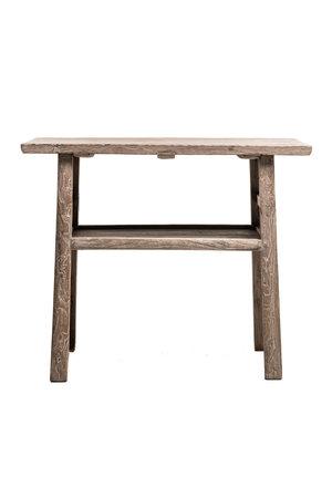 Sidetable with double shelf, elm wood - 101cm