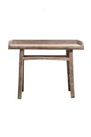 Sidetable elm wood with raised edge - 116cm