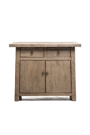 Unique cabinet with 2 drawers and doors, elm wood