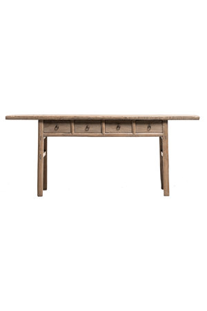Sidetable elm wood with 4 drawers - 194cm