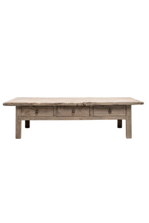 Coffee table elm wood with 3 drawers