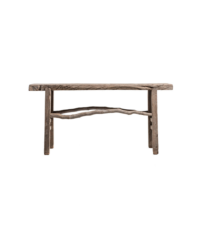 Sturdy side table, weathered elm wood, - 170cm