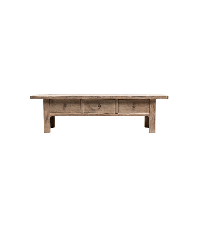 Sturdy coffee table with 3 drawers, elm wood