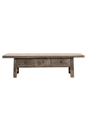 Low coffee table with 3 drawers, elm wood