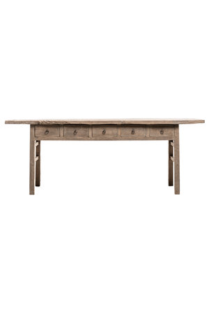 Sidetable weathered elm wood with 5 drawers - 225cm