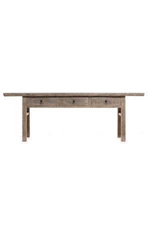 Sidetable elm wood with 3 drawers - 240cm