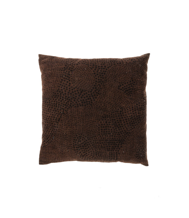 Bogolan cushion snow, brown/black #2