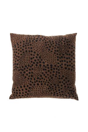 Bogolan cushion snow, brown/black #3