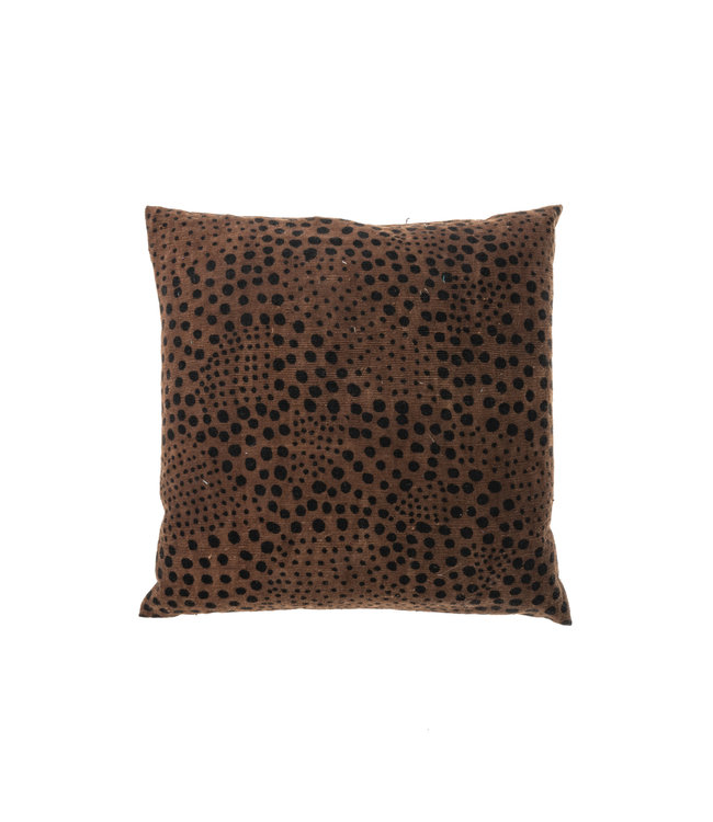 Bogolan cushion snow, brown/black #3
