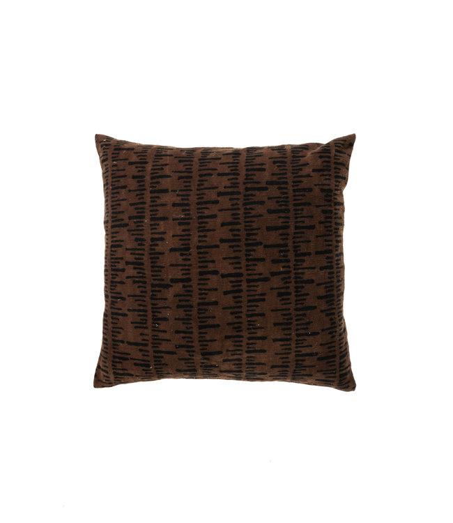 Bogolan kussen stripe, brown/black #4