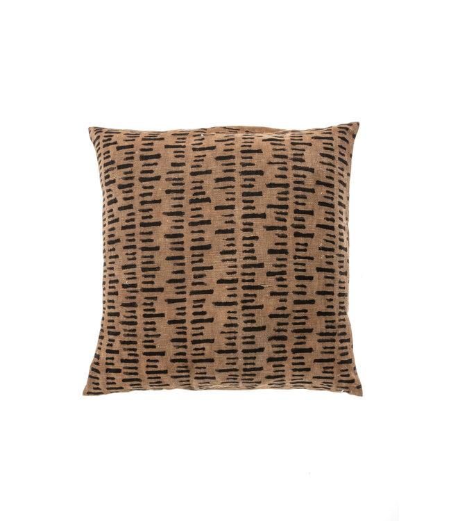 Bogolan kussen stripe, light brown/black #5