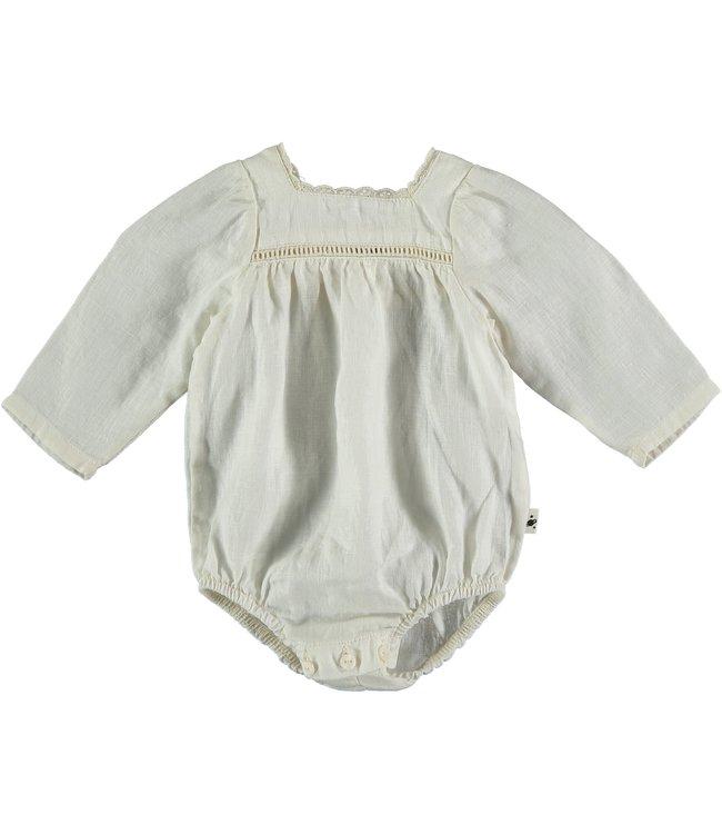 Linen baby romper - ivory