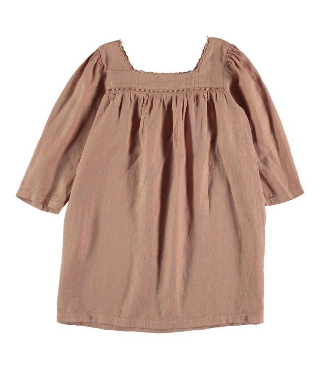 Linen kids dress - terra cotta