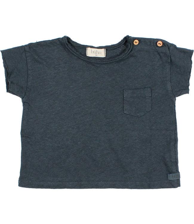 Buho Baby cotton linen t-shirt - blue night