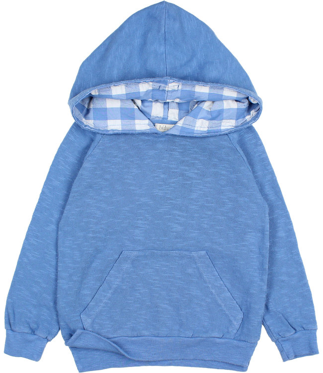 Buho Gingham hood sweater - marina