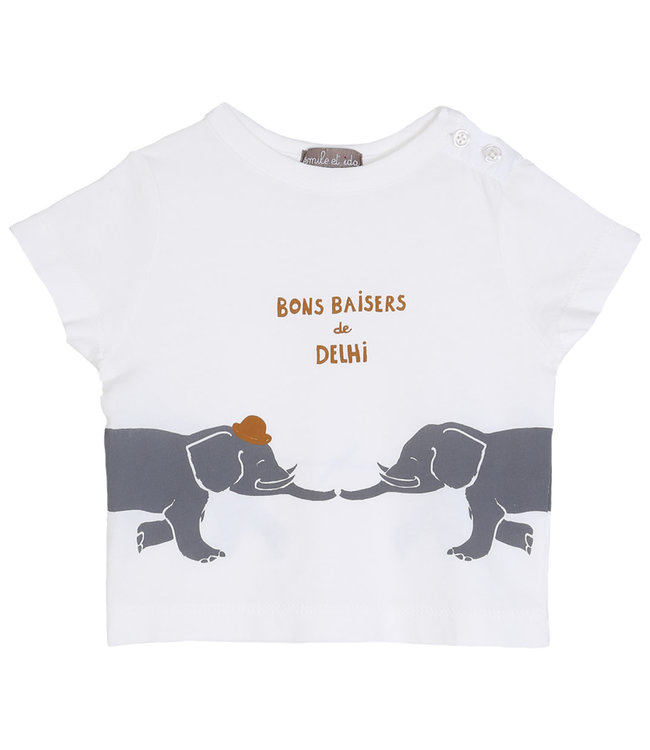 Emile et ida Tee shirt - ecru delhi grey