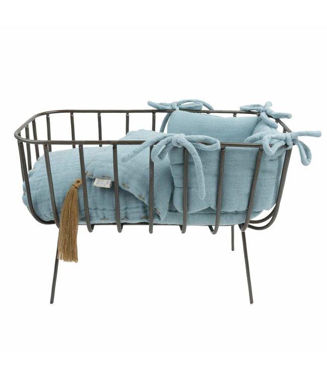 Doll metal crib set mini - sweet blue