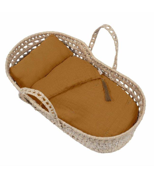 Doll basket bed linen - gold