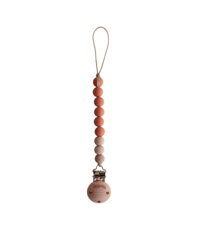 Mushie Speenketting Cleo - clementine/wood