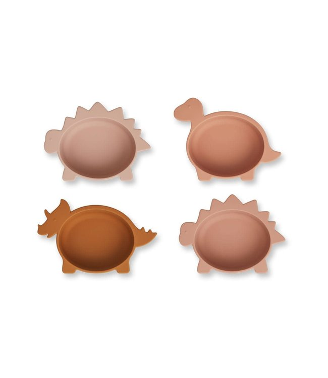 Liewood Iggy silicone bowls 4-pack - dino rose multi mix