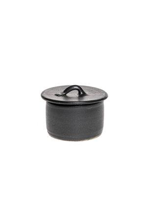 Black gres sugar bowl