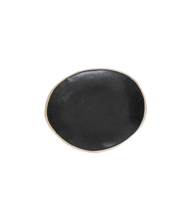 Black gres oval soup plate with natural edge