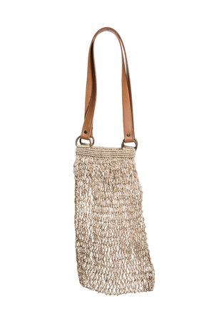 The Dharma Door Jute string bag - natural with leather handles