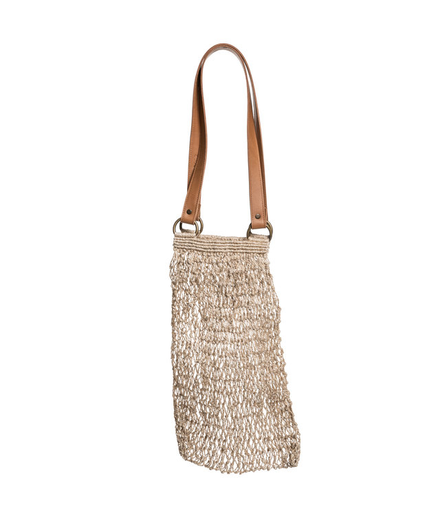 Jute string bag - natural with leather handles