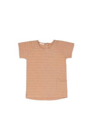 Phil & Phae Raw-edged tee short sleeves tonal stripes - peach dust