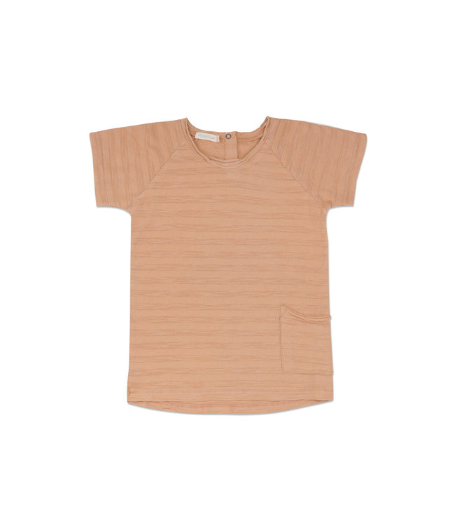 Phil & Phae Raw-edged tee short sleeves tonal stripes - peach dust