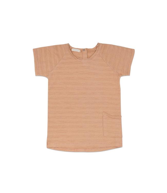 Raw-edged tee short sleeves tonal stripes - peach dust