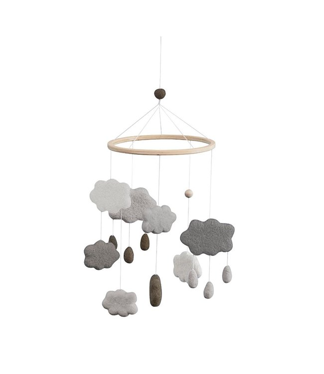Sebra Felted baby mobile with clouds - warm grey