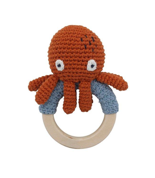 Sebra Gehaakte rammelaar op ring, morgan the octopus - rusty