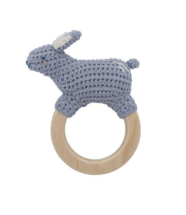 Sebra Crochet rattle, Bluebell the bunny on ring, dreamy