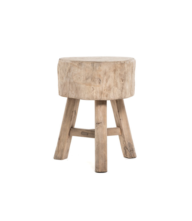 Tree trunk stool, round