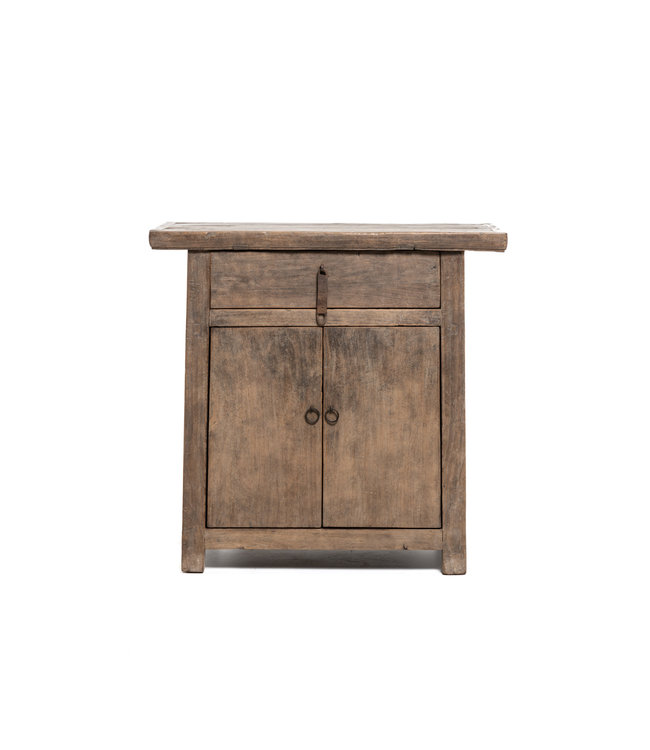 Small cabinet with 1 drawer and 2 doors, patinated elm
