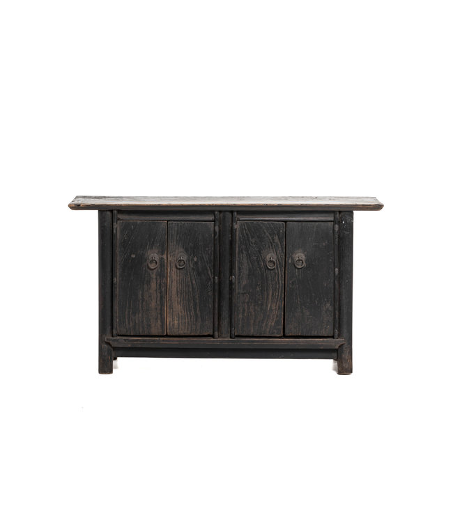 Authentic black mini cabinet with 4 doors, patinated elm