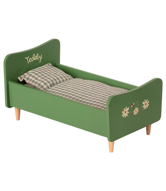Maileg Wooden bed, teddy dad - dusty green