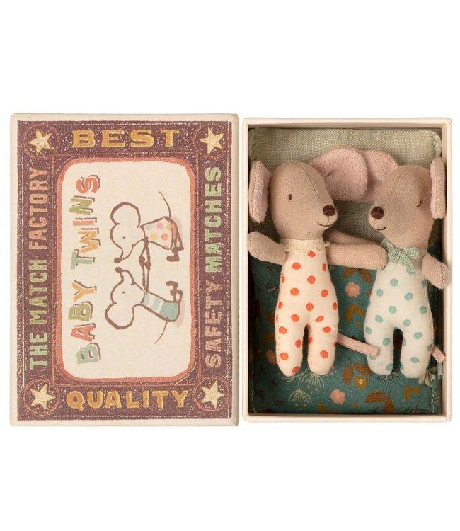 Maileg Baby mice, twins in matchbox